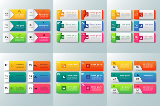 Pack of infographic design template