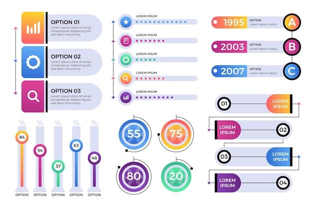 Confezione di elementi infografici