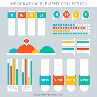 Pack of infographic items with colored forms