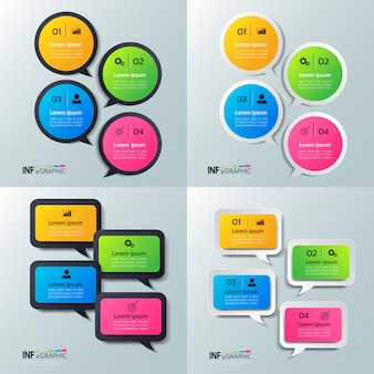 Pack of infographics with speech bubbles design.
