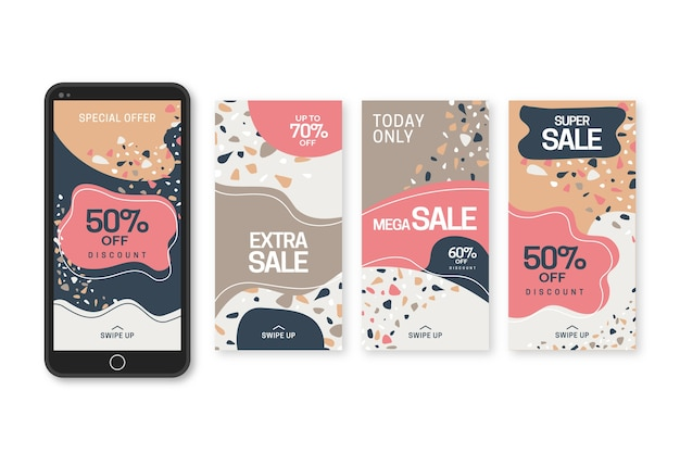 Pack of instagram sale stories in terrazzo and hand drawn style