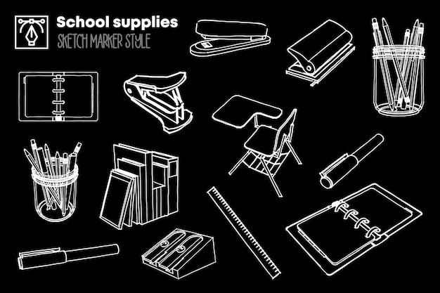Pack of isolated drawings of school supplies