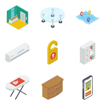Pack of isometric furniture icons