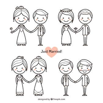 Pack of just married couples