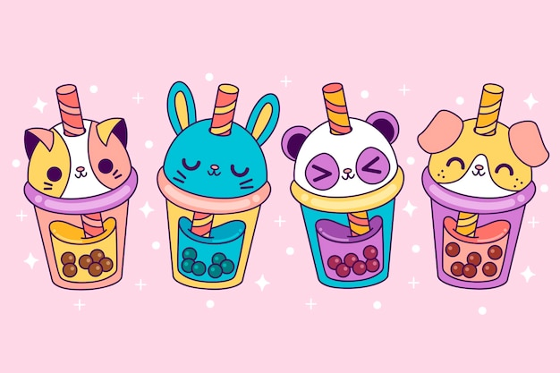 Pack of kawaii bubble tea