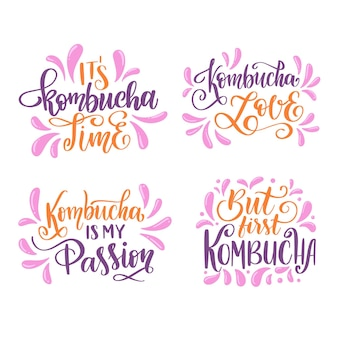 Pack of kombutcha tea lettering