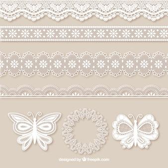 Confezione da bordi del merletto e farfalle