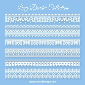 Pack of lace borders in flat design