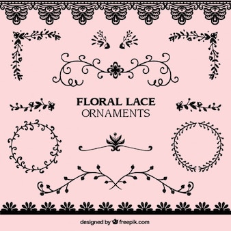 Pack of lace floral ornaments