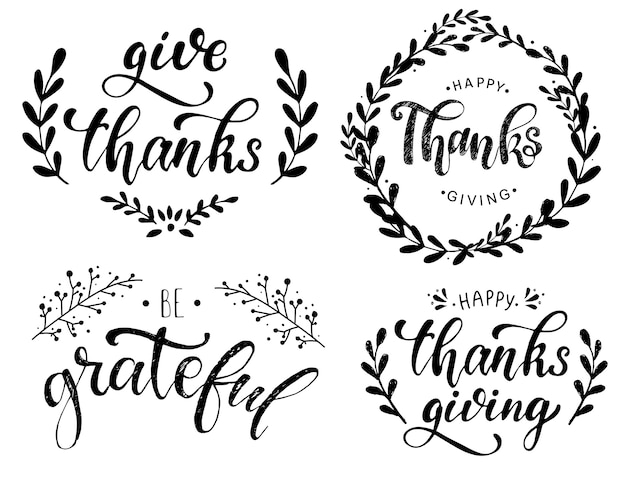 Pack of lettering quotes for thanksgiving day