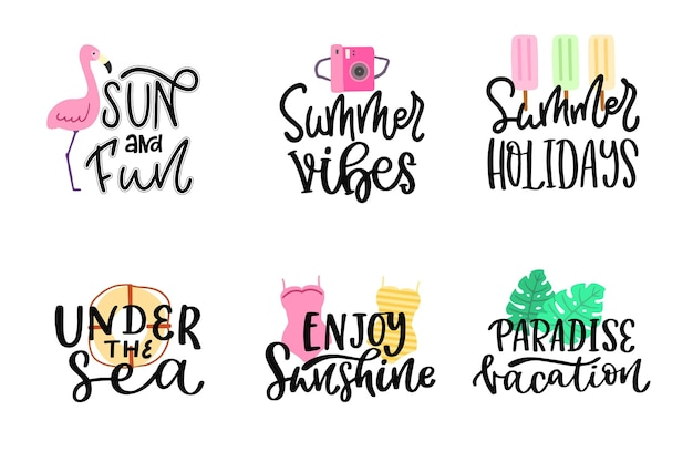 Pack of lettering summer badges
