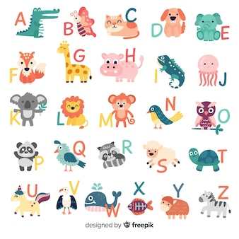 Pack of letters with cute animals