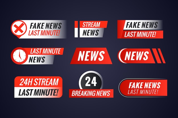 Pack of live streams news banners