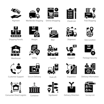 Pack of logistics delivery icons