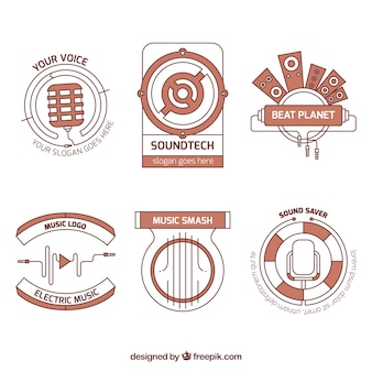Pack of logos music studio in modern style
