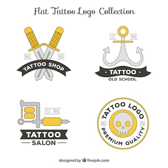 Pack of logos of tattoos in linear style