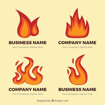 Pack of logos with fantastic flames