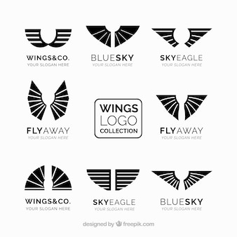 Pack of logos with wings in black color