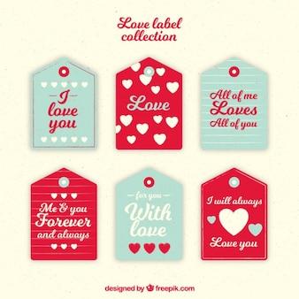 Confezione di tag amore con il cuore e messaggi