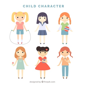 Pack of lovely little girls characters