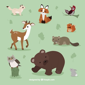 Pack of lovely winter animals
