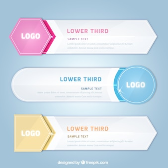 Pack of lower thirds in flat design