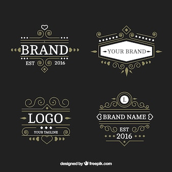 Pack of luxurious logos in victorian style