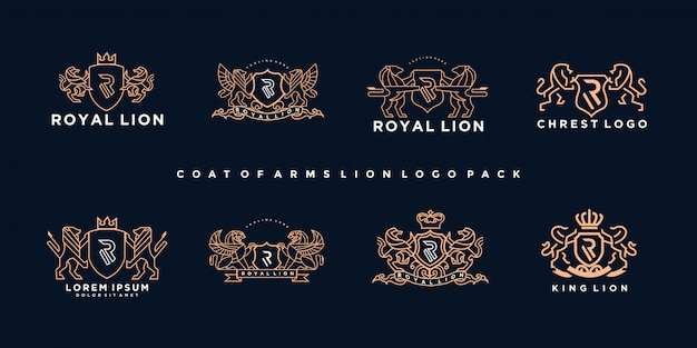 Pack of luxury coat of arms lion logo