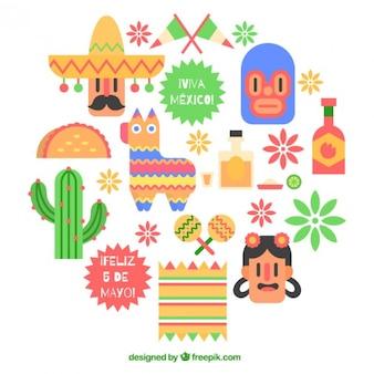 Confezione da maggio cinque elementi piacevoli in design piatto