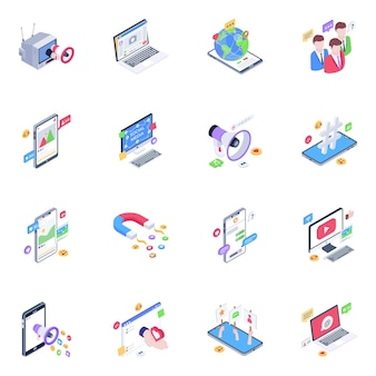 Pack of media isometric icons