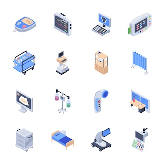 Pack of medical equipment icons