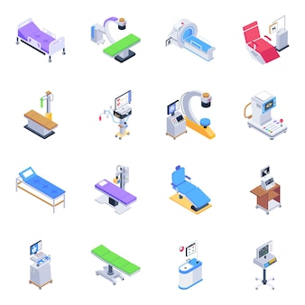 Pack of medical equipment isometric icons