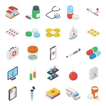 Pack of medical isometric icons