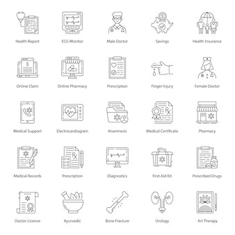 Pack of medical line icons pack
