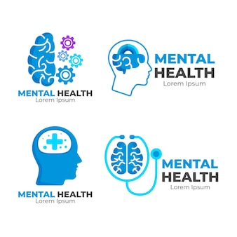 Pack of mental health logo templates