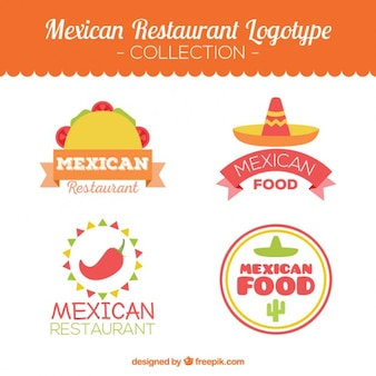 Pack of mexican restaurant logotypes