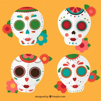 Pack of mexican skulls with flowers