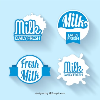 Pack of milk stickers in vintage style