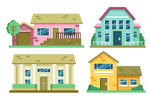 Pack of minimalist different houses