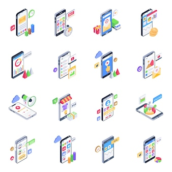 Pack of mobile apps isometric icons
