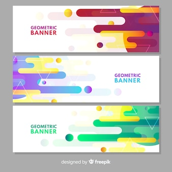 Pack of modern banners with geometric design