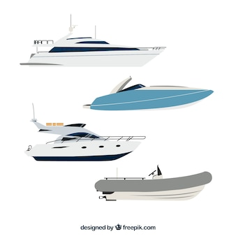 Pack of modern boats and launch