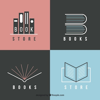 Pack of modern book logos