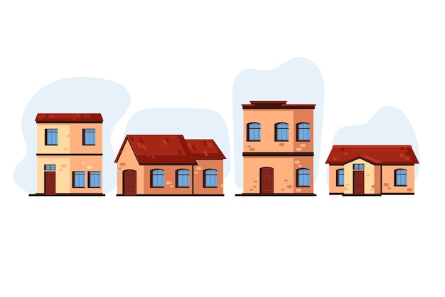 Pack of modern different houses