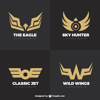 Pack of modern golden logos with wings