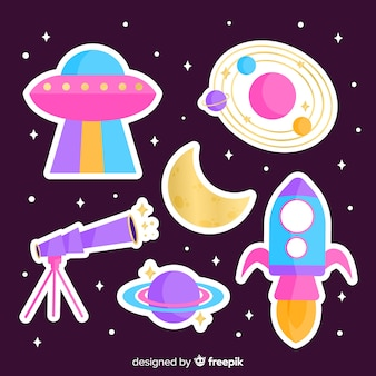 Pack of modern illustrated space stickers