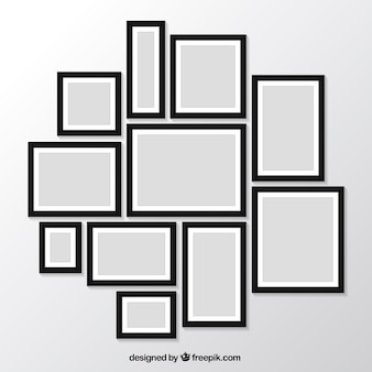 Pack of modern photo frames on the wall