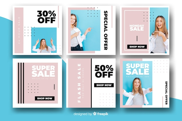 Pack of modern sale banners for social media