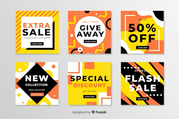 Pack of modern sales banners for social media