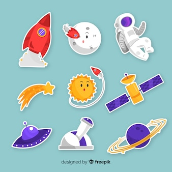 Pack of modern space stickers illustrated